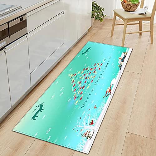 Alfombra de pasillo para Navidad, cocina, zona de alfombra, alfombra de suelo para el hogar, alfombra para salón, baño, decoración, antideslizante, 80 x 120 cm