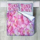 HANTAODG Set 3 Piezas,Bedding Juego De Ropa De Cama con 2 Fundas De Almohada Pétalos de Rosa 220X230cm