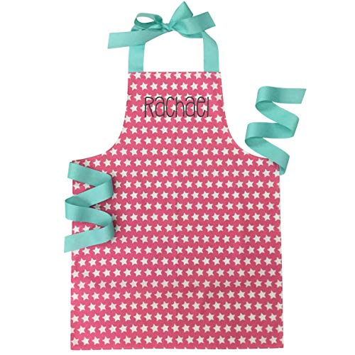 Personalized Handmade Pink Star Baking or Art Apron Gift for Tween Girl