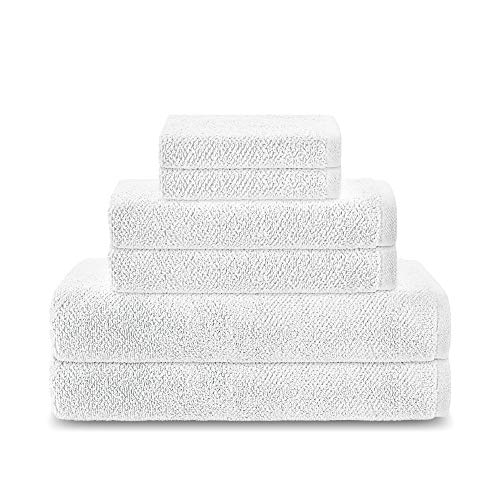 Columbia Super Stretch 6-Piece Bath Towel Set - Premium Eco-Friendly Oeko-Tex Made in Green Cotton Micro Cotton Technology - Super Soft and Ultra Absorbent - Low Lint - White