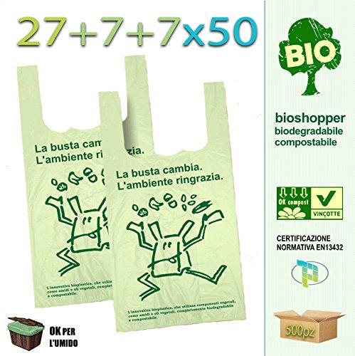 Palucart scatolo da 500 shopper biodegradabili compostabili a norma 2018 (27+7+7x50)
