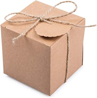 AWELL Kraft Gift Boxes 2x2x2 inch with Tags and Rope for Candy Treat Gift Wrap Box Party Favor 50pc by MOWO