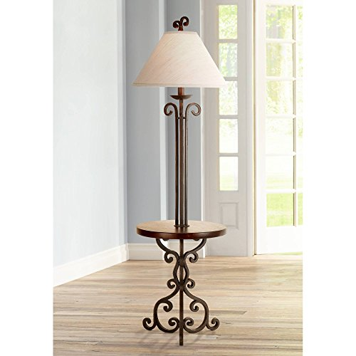 Iron Rust Floor Lamp with Wooden Tray Table