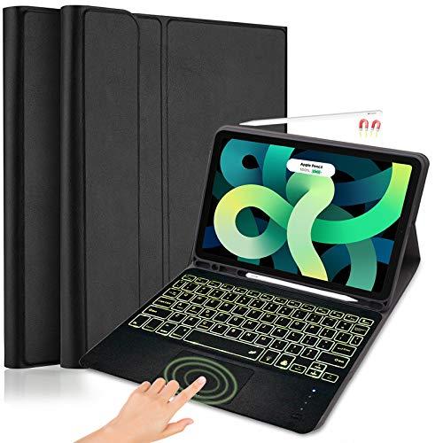 Custodia per Tastiera per il Nuovo iPad Air 4th Gen 2020, Custodia in pelle Lachesis con layout USA Tastiera Touchpad Retroilluminata e Portapenne per iPad 10,9 Pollici / Pro 11 2020/2018, Nero