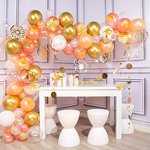 PartyWoo Gold and Rose Gold Balloon Garland Kit, 107 pcs Rose Gold Balloons, Peach Balloons, Clear Balloons, White Balloons, Gold Balloons, Banner, Gold Flowers, Leaves for Rose Gold Party Decorations