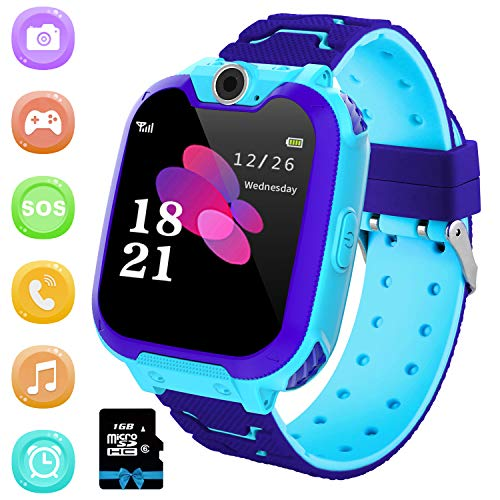 günstig Kinder Smartwatch 7 Set-Kinder Smartwatch MP3 Musik-Touchscreen Smartphone Kamera Uhr Wecker Rekorder Computer, Kinder Smartwatch für Jungen und Mädchen 3-12 Jahre alt (mit 1 GB SD-Karte)