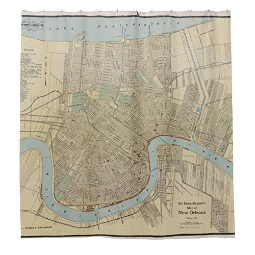 Duschvorhänge mit 12 Haken Vintage Landkarte von New Orleans Badezimmer Vorhang 183 x 183 cm