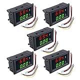 """Aideepen 5個セット デジタル電圧電流計 DC 0-100V 10A 0.28""""インチダブルLED ディスプレイ 5線電圧計電流計 (赤绿)"""