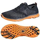 ALEADER Men's Aquatic Water Shoes Cozy Mesh Walking Sneakers Gray/Orange 11 D(M) US