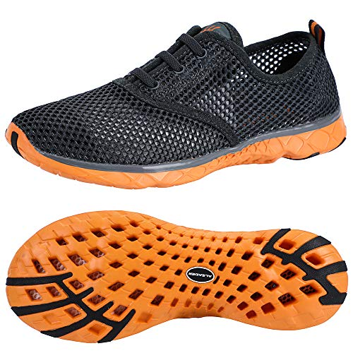 ALEADER Men's Aquatic Water Shoes Cozy Mesh Walking Sneakers Gray/Orange 14 D(M) US