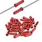 Fodlon 30 Pezzi Terminali Cavi Bici, Tappi per Cavi Freno Alluminio, Crimpatura estremità Cavo Tappi per Cavi Bici da Corsa, Bici MTB (Rosso)