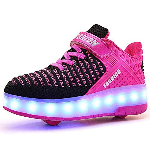 QHGao Glatte Runde Schuhe, Farbenfrohe LED-Lichtschuhe, USB-Ladeschuhe, Automatische Einrad-Herren- Und Damenschuhe, Schuhe Mit Hohen Absätzen Auf Rädern,Rosa,28