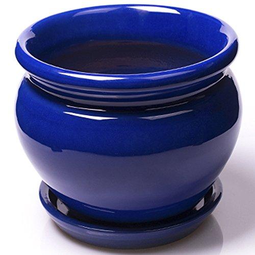 Alfareros Damian Canovas Maceta DE Barro ESMALTADA EN Color Azul + Plato.Medidas 22 X 16CM.