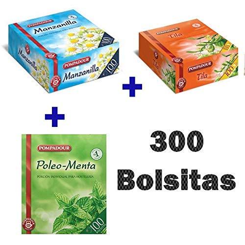 Pack Té Pompadour - Tila Pompadour, Manzanilla Pompadour, Poleo Menta Pompadour - Infusiones Pompadour Pack de 3 x 100 bolsitas - Total 300 Bolsitas