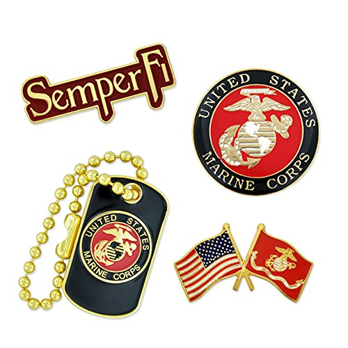 PinMart US Marine Corps Military Patriotic Dog Tag SemperFi Enamel Lapel Pin Set