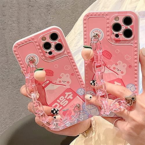 LIUYAWEI Carcasa de teléfono con Cadena Colgante de melocotón Lindo para iPhone 12 11 Pro XS MAX 7 8 Plus X XR SE 2020 Carcasa Trasera de Silicona con Oso de Dibujos Animados, Style1, para iphone8plu