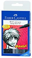 Faber-castell Manga Pitt Artist Pens 8/pkg 5 Shades of Gray 3 Assorted Tip Black 167107 by Faber-Castell