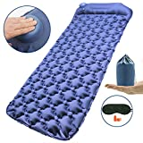 Richenfull Camping Sleeping Mat, Hand Press Inflatable Pad with Pillow, Air Sleeping Mats