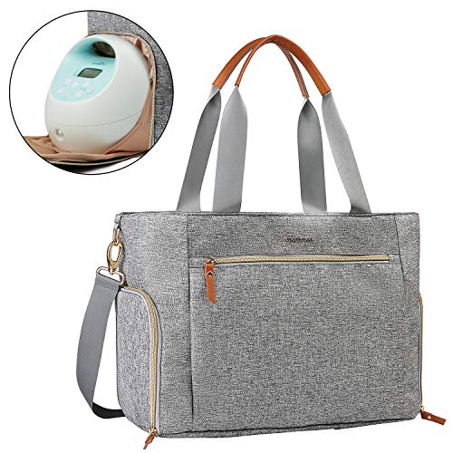 mommore Breast Pump Bag Diaper Tote Bag with 15 Inch Laptop Sleeve Fit Most Breast Pumps like Medela, Spectra S1,S2
