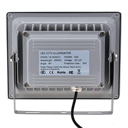 VIKYLIN Infrared Illuminator 850nm 15 LEDs 90 Degrees Wide Angle IR Illuminator IP67 Waterproof Night Vision LED Infrared Light for IP Camera, CCTV Security Camera