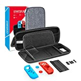 Nintendo Switch Carrying Case,Nintendo Switch Deluxe Hard Shell Travel Carrying Case,8 in 1,Protective Hard Shell Travel Carrying Case Pouch for Nintendo Switch Console & Accessories,Grey