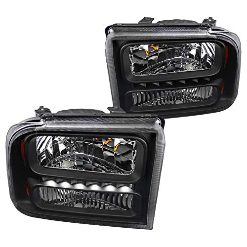 Spec-D Tuning Black Clear Led Headlights for 2005-2007 Ford F250/F350/F450/F550 Super Duty 2005 Excursion Head Light Assembly Left + Right Pair