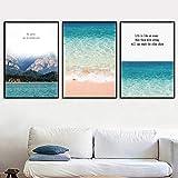 Arte de la pared del paisaje del bosque del mar azul de la playa rosada pintura en lienzo carteles nórdicos e impresiones cuadros de pared para la decoración de la pared de la sala de estar