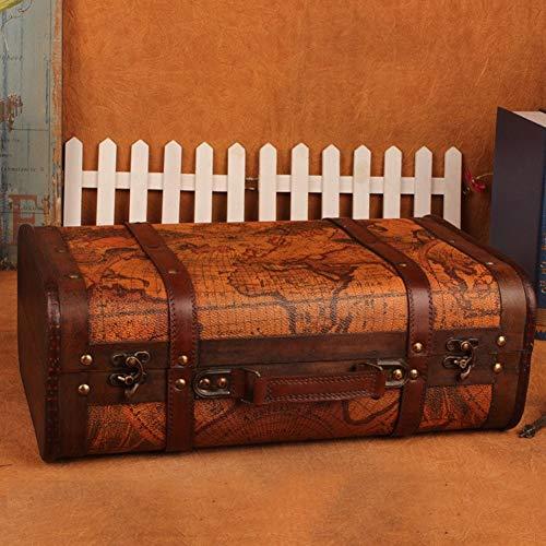 DZWJ Joyero de Madera Vintage, Caja de Madera de imitación de Cuero Estilo Maleta, Caja de Almacenamiento, Organizador, Caja de Regalo