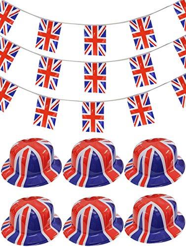 Accesorios para fiestas britnicas, accesorios para disfraz, diseo de bandera britnica, San Jorge y fiesta de jubileo (6 sombreros)