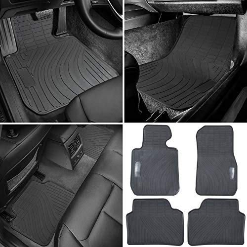 Floor Mat for BMW 3/4 Series F30 F31 F32 F33 F36 320i 328i 335i 2012-2018 & 2015+ F80 M3 Heavy Duty Rubber Front+Rear Car Liner Carpet All Weather Custom Fit Waterproof Odorless (Black 4PCS)