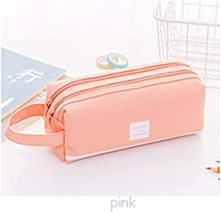 YWSCXMY-AU Creative Double Zipper Large Pencil Case Pencil Case Big Pen Box Cute Stationery Bag (Color : Pink)