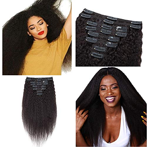 Afro Kinky Straight Clip In Human Hair Extensions Clip Ins Remy Hair for African American Unprocessed Brazilian Virgin Hair Double Wefts For Black Women 8 Pcs 18 Clips 10' 100g #1B Natural Black