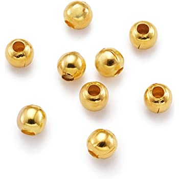 CHOICE OF 4 SIZES 2MM TO 3.5MM BRASS PLATED 50 PIECES BRASS BEADS PURE GOLD
