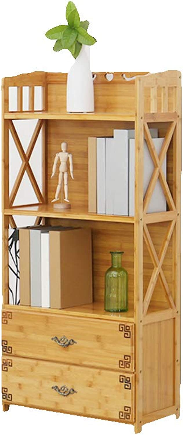 Retro with Drawer Multi-Layer Bamboo Bookcases, Floor-Standing Storage Rack Open Cabinet Bookshelf Organizer Living Room Bedroom Office-E 52X25X113cm
