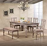 Kings Brand Furniture - Almon 2-Tone Brown Wood 6-Piece Dining Room Set, Table, Bench & 4 Chairs