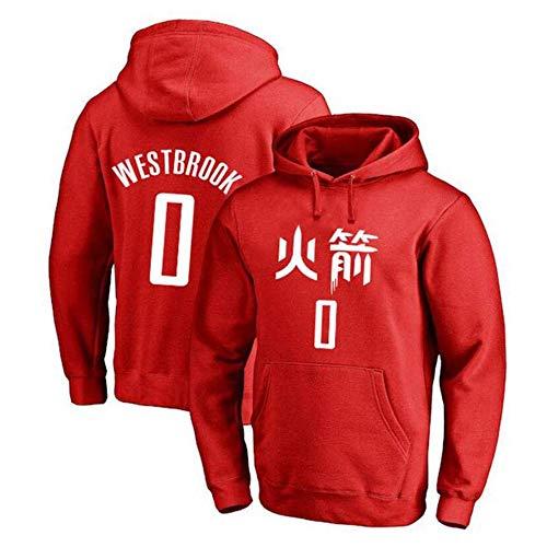 YB-DB Heren Basketbal Hoodie, NBA Rockets - 0# Westbrook Jersey Hooded Pullover Los,gestikte letters en cijfers(S-3XL)