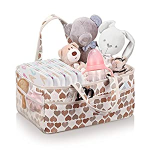SITHON Baby Diaper Caddy Organizer, Portable Essential Storage Bag for Nursery, Changing Table and Car, Great for Storing Diapers, Baby Wipes, Toys and Pacifiers