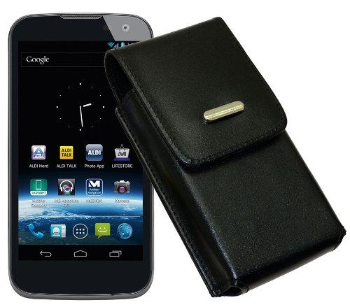 Vertikal Tasche für / MEDION® LIFE® P4501 (MD 98428) - Medion Life P4502 (MD 98942) / Köcher Etui Hülle Ledertasche Vertical Case Handytasche mit einer Gürtelschlaufe auf der Rückseite