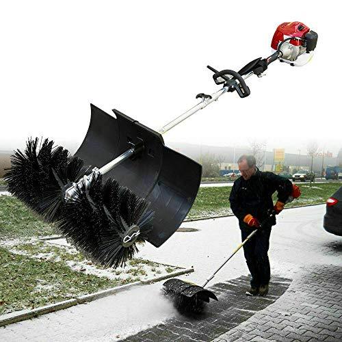 Kehrmaschine, 2,3 PS 52CC Benzin Motorbesen Power Sweeper Motor Besen Schneefräse mit Fahrgestell Schneeschieber Schnellwechsel, 60 cm Besenbreite
