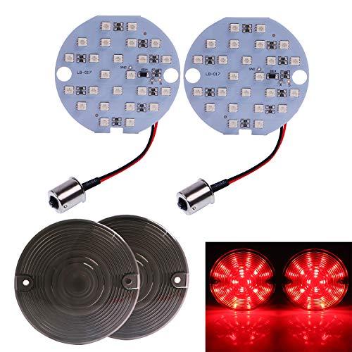 "Bid4ze 2 Pcs Motorcycle 3"" 1156 Bulb Red LED Turn Signal Light Blinker Insert w/Smoke Lens Covers For Harley Road King Electra Road Glides FL"