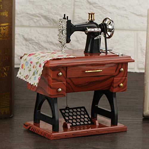 Jtedzi Caja de música para máquina de Coser, Mini Caja de música para máquina de Coser Vintage, Decoración de Escritorio de Mesa, un Regalo de Juguete para niños, Navidad, Cumpleaños