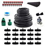 Flantor Garden Irrigation System,50ft 3/8' & 50ft 1/4' Irrigation System Blank Distribution Tubing Watering Drip Kit/Irrigation Kits Automatic Mist Irrigation Equipment Set for Garden,Flower Bed,Lawn
