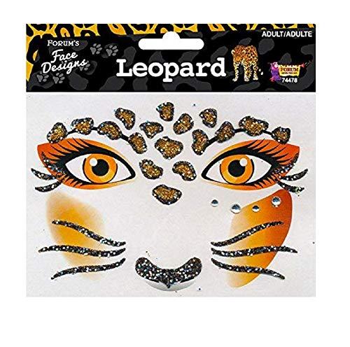 Forum Novelties Face Designs-Leopard, Multi, Standard (74478)