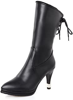 WeiPoot Women's Pointed Closed Toe PU Lace-up High-Heels Mid-Top Boots