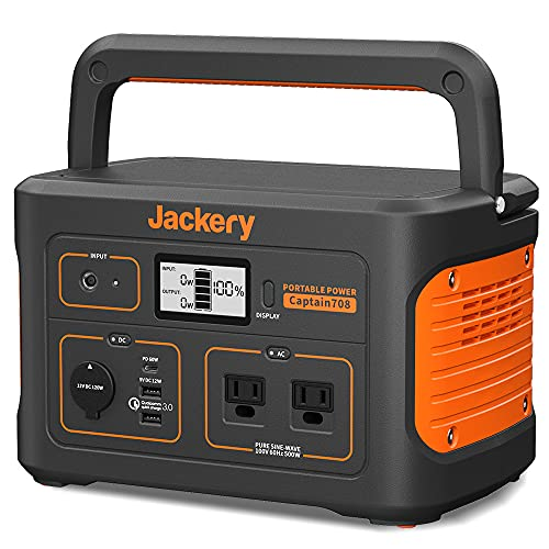 Jackery ポータブル電源 708 発電機 ポータブルバッテリー 大容量 191400mAh/708Wh 家庭用 アウトドア用 バックアップ電源 PSE認証済 純正弦波 MPPT制御方式採用 AC/DC/USB出力 四つの充電方法 液晶大画面表示 車中