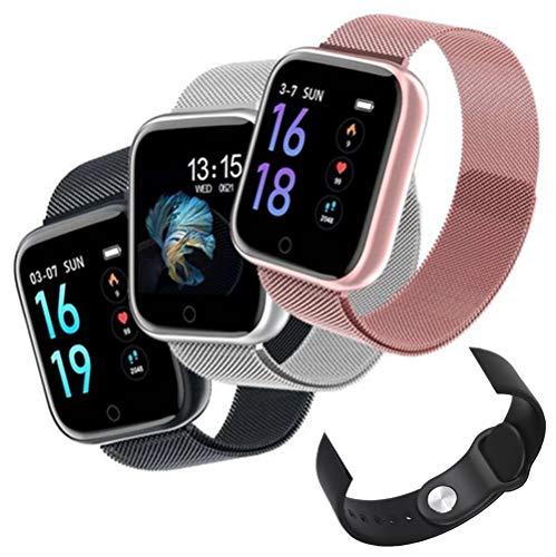 Relógio Smartwatch T80 Bluetooth Pressão Arterial Frequência Cardíaca Oxigênio no sangue IP67 Compatível com Strava + Pulseira Extra (ROSE)