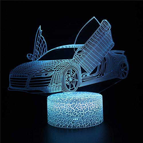 Regalos para niños, lámpara de ilusión 3D Audi lámparas de escritorio, decoración de habitación de los niños, el mejor regalo de cumpleaños para niños pequeños y niños