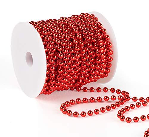 Anstore Perlenband Christbaumkette Christbaum Perlenkette Perlengirlande Perlenschnur Weihnachten Advent Hochzeit Deko Tischdeko, Rot, 15 Meter