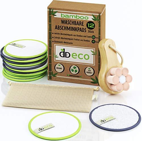 DD ECO® Waschbare Abschminkpads – aus Bambus & Baumwolle, sehr sanft, Umweltfreundlich, 12 Stück: aus Velours und Frotte – Baumwolltüte (Netztasche) + Bonus - die Massage-und Reinigungsbürste.