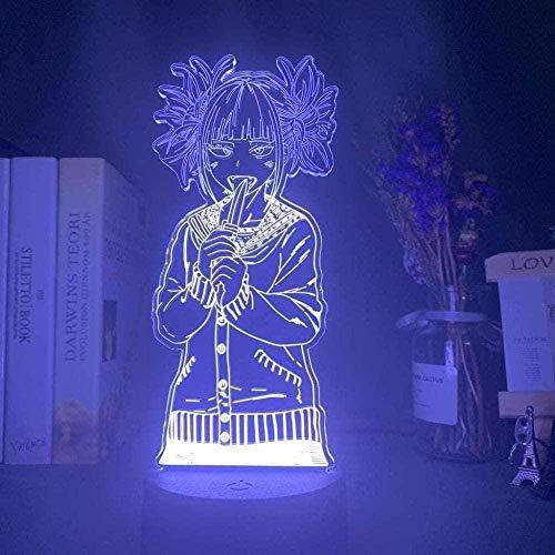 A-Generic Lamp Anime My Hero Academia Toga Himiko Figura LED Luz de Noche Acrílico para la habitación de la habitación Decoración Fresca Niño Niño Regalo 16 Color